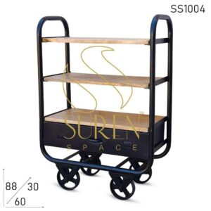 SS1004 Suren Space Black Finish Serving Cum Display Cart With Drawer