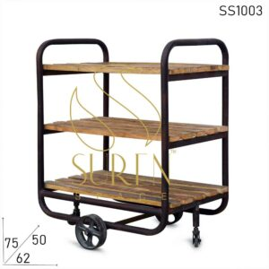 SS1003 Suren Space Mango Wood Rustic Finish Serving Trolley