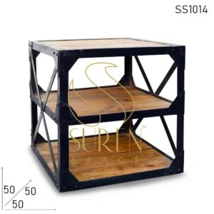 SS1014 Suren Space Cross Pattern Retro Style Side Table Cum Display Unit
