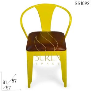 SS1092 Suren Space Bent Metal Bistro Chair With Genuine Leather Seating