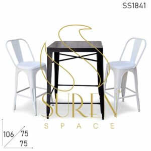 SS1841 Suren Space Iron Powder Coated Outdoor Bar Height Table Chairs Set
