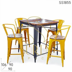 SS1855 Suren Space Yellow Metal Stylish Bar Pub Brewery Table Chair Set