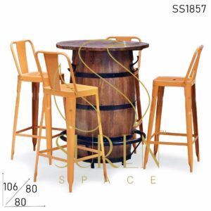 SS1857 Suren Space Farmhouse Barrel Drum Metal Bar Chair Table Set