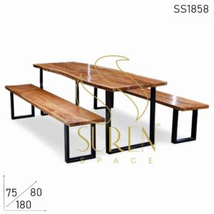 SS1858 Suren Space Live Edge Acacia Metal Stand Table Bench Set for Event