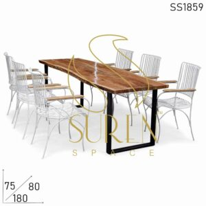 SS1859 Suren Space Live Edge Event Wedding Table Chairs Outdoor Furniture Set