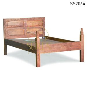 SS2064 Suren Space Solid Acacia Wood Hand Carved Pattern Single Resort Hotel Bed Design