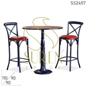 SS2457-1 Suren Space Cast Iron Round Pub Table Cross Back Bar Chair