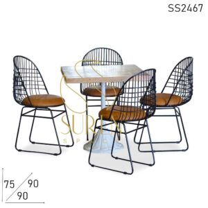 SS2467 Suren Space Cast Iron Outdoor Cafeteria Bistro Dining Set