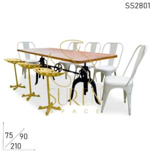 SS2801 Suren Space Industrial Eight Seater Adjustable Dining Table Chairs & Stools Set