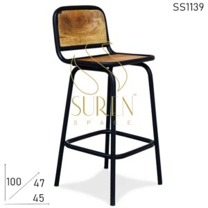 SS1139 Suren Space Black Metal Frame Solid Wood Curved Bar Chair