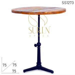 SS1273 Suren Space Cast Iron Adjustable Reclaimed Wood Cafe & Bar Table
