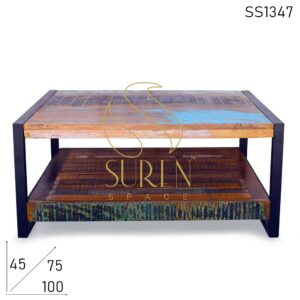 SS1347 Suren Space Multicolored Reclaimed Wood Metal Coffee Center Table