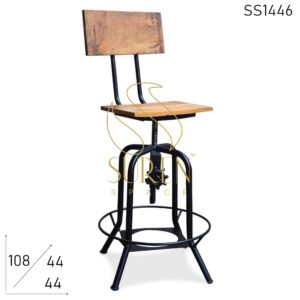 SS1446 Suren Space Height Adjustable & Rotatable Solid Wood Metal Bar Chair