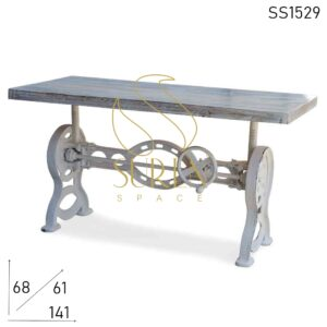 SS1529 Suren Space Distress Cast Iron Reclaimed Wood Adjustable Coffee Table