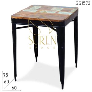 SS1573 Suren Space Industrial Reclaimed Wood Bistro Coffee Table