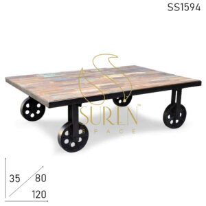 SS1594 Suren Space Reclaimed Wood Casting Wheel Movable Center Table