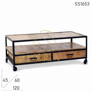 SS1653 Suren Space Indian Mango Wood Rustic Finish Metal Center Table