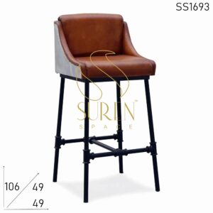 SS1693 Suren Space Leather Seating Metal Back Iron Leg Bar Chair