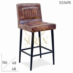 SS1695 Suren Space Distress Finish Stitched Leather Metal Frame Bar Brewery Chair