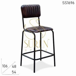 SS1696 Suren Space Iron Pipe Structure Leather Seat Back Bar Pub Chair