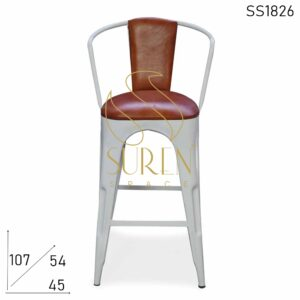 SS1826 Suren Space Leather Seat Back White Metal Brewery Brew Pub Bar Chair