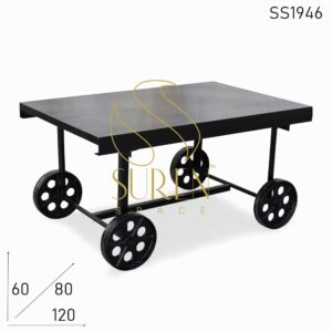 SS1946 Suren Space Casting Wheel Heavy Movable Metal Center Coffee Table