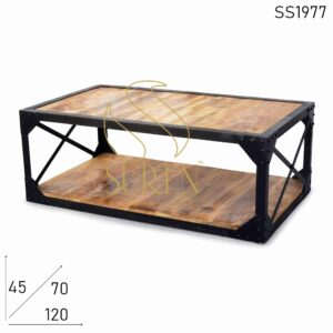 SS1977 Suren Space Rough Finish Solid Wood Metal Frame Industrial Center Table
