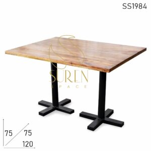 SS1984 Suren Space Folding Industrial Metal Base Solid Wood Restaurant Table