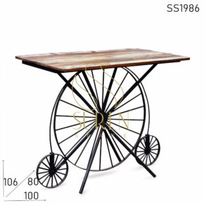 SS1986 Suren Space Round Wheel Industrial Reclaimed Retro Style Bar Table