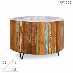 SS1997 Suren Space Reclaimed Wood Round Shape Metal Leg Center Coffee Table