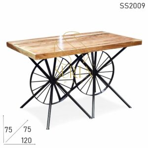 SS2009 Suren Space Duel Wheel Natural Acacia Wood Restaurant Dining Table