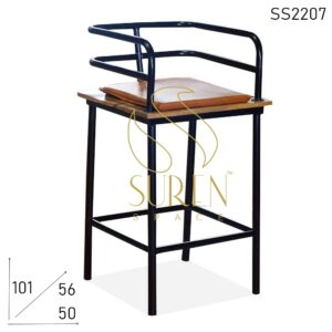 SS2207 Suren Space Industrial Black Metal Bar Pub Brewery Counter Chair