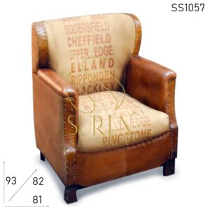 SS1057 Canvas Printed Club Arm Chair in Pure Leather Touch