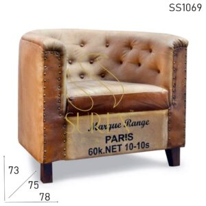 SS1069 Tufted Arm Chair Round Back Restaurant Sofa Design