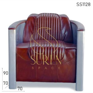 SS1128 Metal Leather Design Aviator Arm Chair