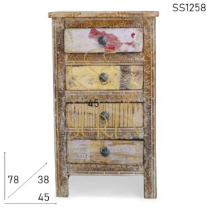 SS1258 Suren Space Carved Reclaimed Four Drawer Long Bedside