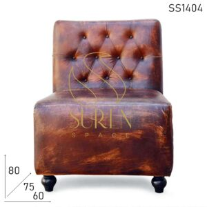 SS1404 Suren Space Tufted Distress Pure Leather Single Seater Restaurant Sofa