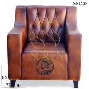 SS1433 Suren Space Tufted Pure Leather Handcrafted Sofa Design