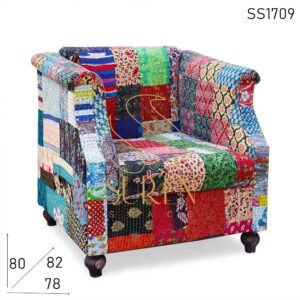 SS1709 Suren Space Multicolored Fabric Indian Touch Single Seater Sofa