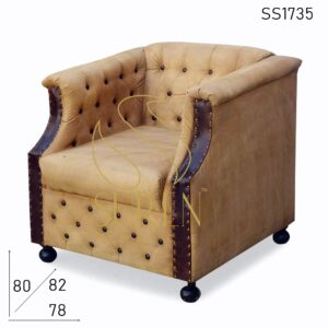 SS1735 Suren Space Tufted Leather Canvas Vintage Theme Single Sofa