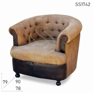 SS1742 Suren Space Tufted Round Back Canvas Leather Single Seater Sofa