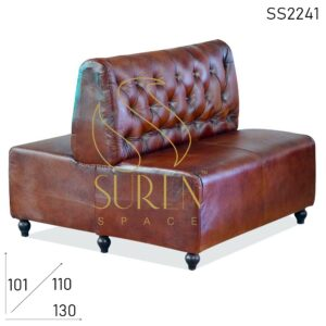 SS2241 Duel Side Tufted Pure Leather Booth Style Upholstered Sofa
