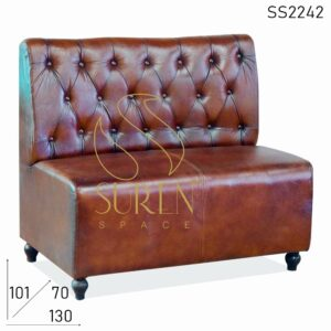 SS2242 Suren Space Tufted Pure Leather Back Rest Two Seater Restaurant Sofa