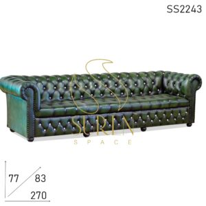 SS2243 Suren Space Tufted Pure Leather Four Seater Chesterfield Sofa Design