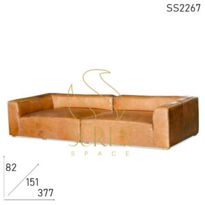 SS2267 Suren Space Buff Leather Huge Size Two-Part Sofa Cum Day Bed