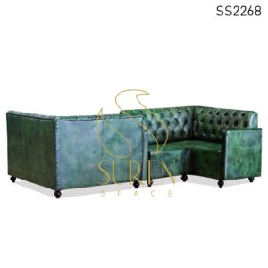 SS2268 Suren Space Duel Side L Shade Green Distress Tufted Sofa