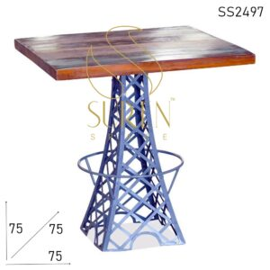 SS2497 Suren Space Eiffel Tower Design Reclaimed Wood Bistro Cafe Table