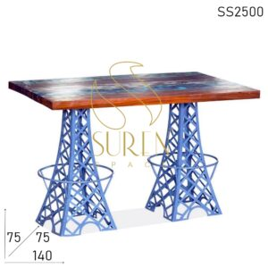 SS2500 Suren Space Dual Effiel Two Folding Reclaimed Wood Dining Table