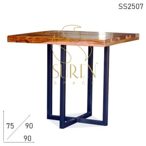 SS2507 Suren Space Indian Rosewood Walnut Finish Metal Leg Bistro Cafe Table