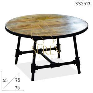 SS2513 Suren Space Cast Iron Metal Frame Solid Wood Unique Round Coffee Table